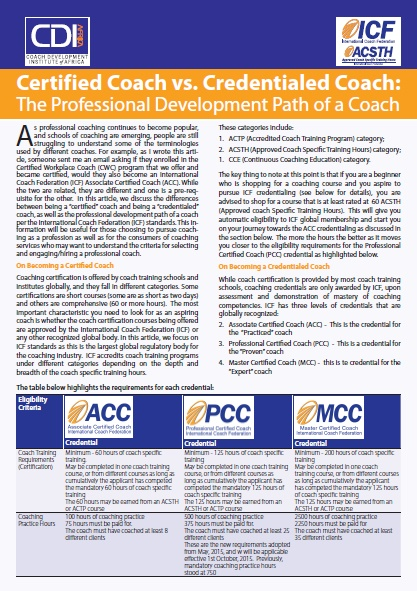 The professional development path of a coach